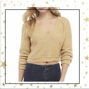 Free People tan High low crop Sweater Small (C5)
